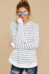 7 The Desert White Sierra Stripe Dakota Pullover at reddressboutique.com