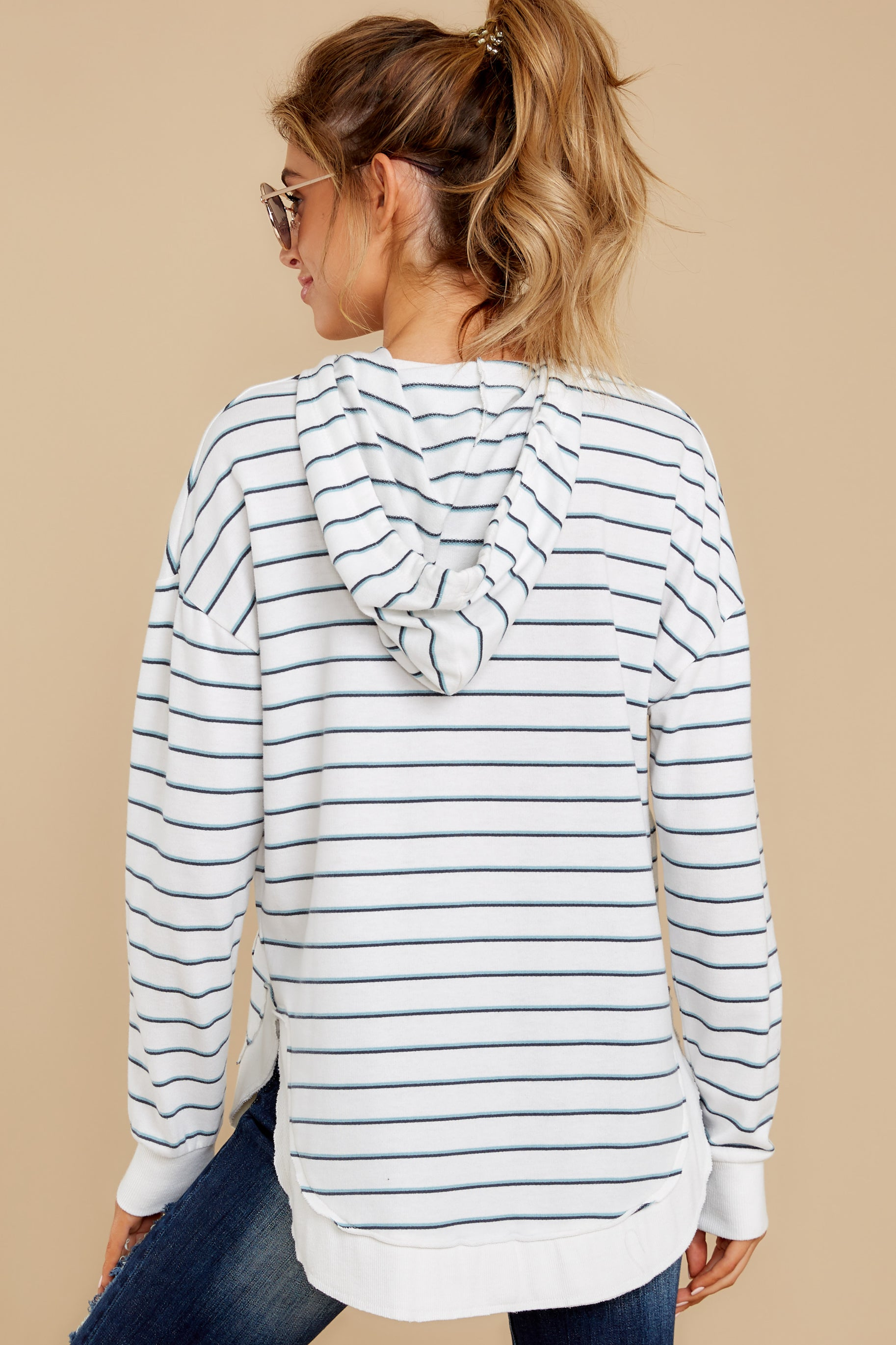 8 The Desert White Sierra Stripe Dakota Pullover at reddressboutique.com