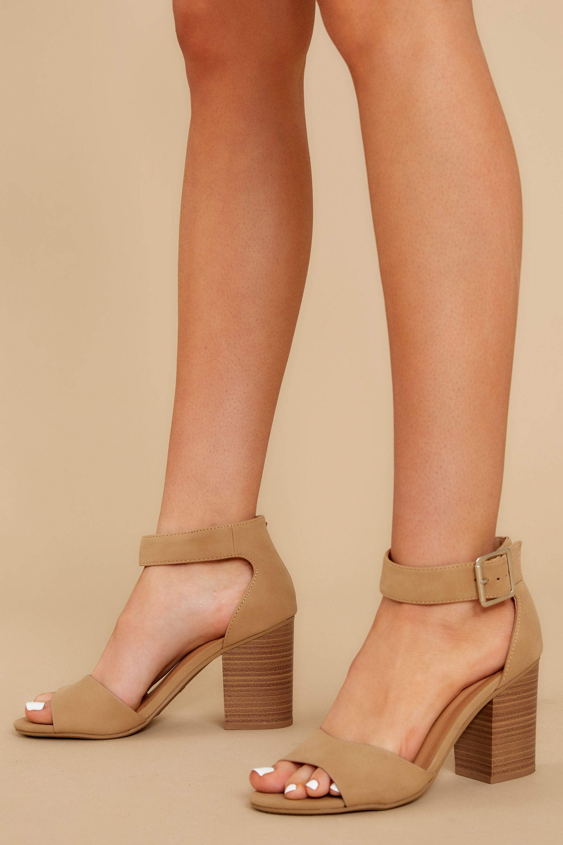 4 Make A Stand Nude Ankle Strap Heels at reddressboutique.com