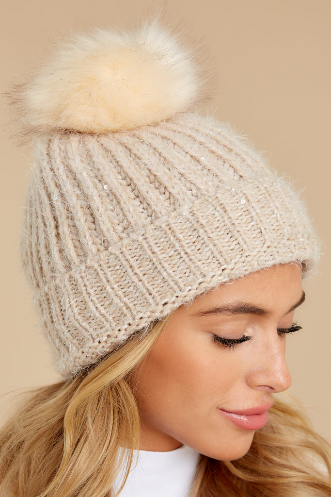 1 Just Warming Up Cream Pom Hat at reddress.com