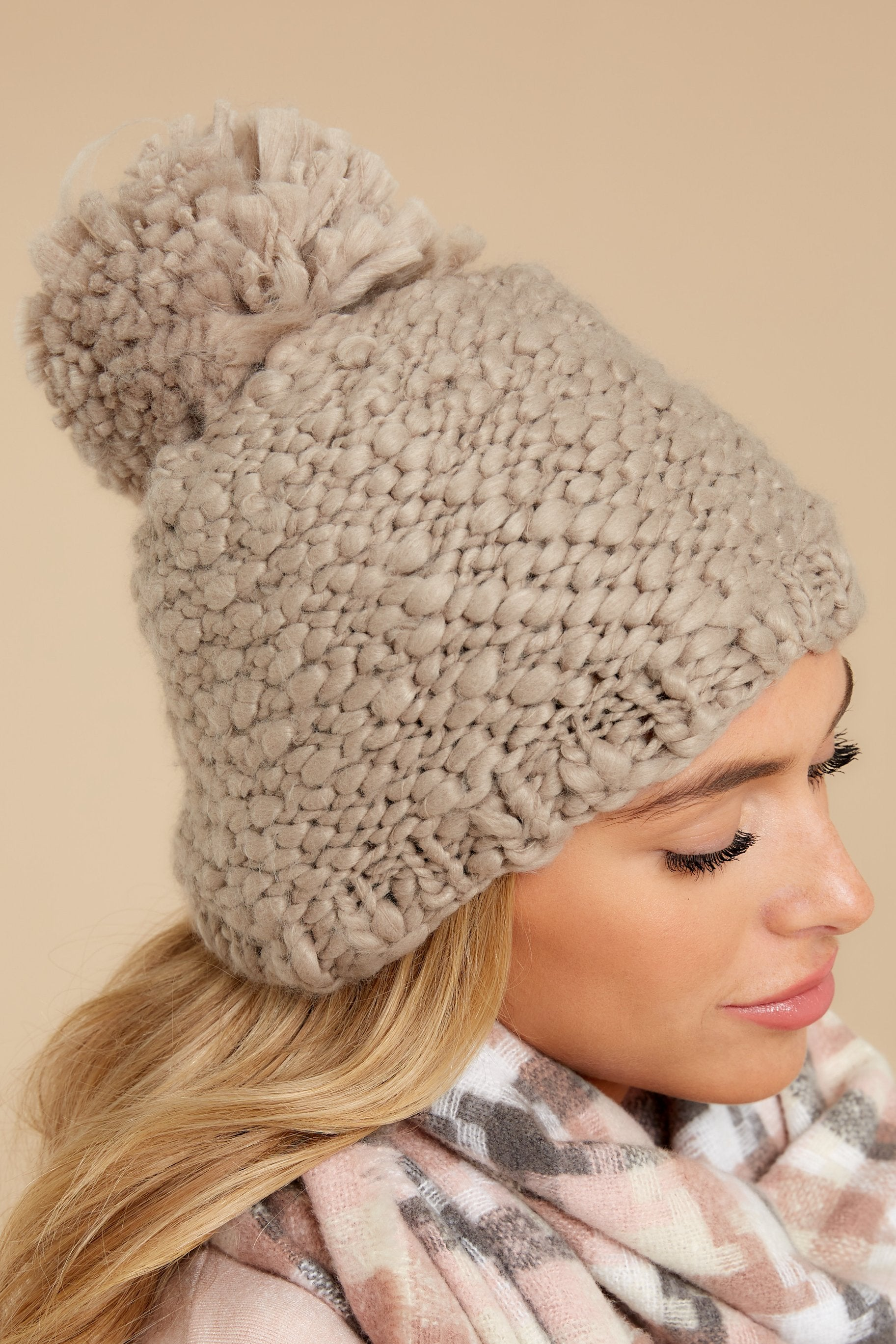 2 Day In The Snow Taupe Pom Hat at reddressboutique.com