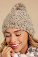 1 Day In The Snow Taupe Pom Hat at reddressboutique.com