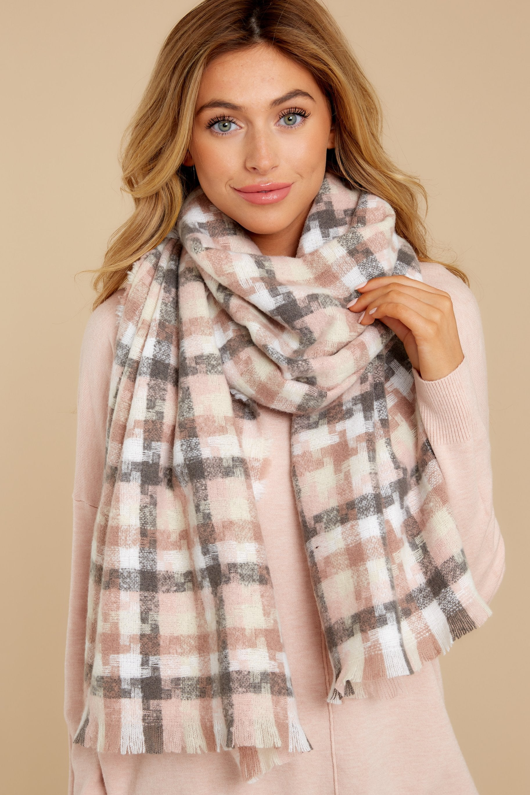 4 In A Flurry Pink Multi Plaid Scarf at reddressboutique.com