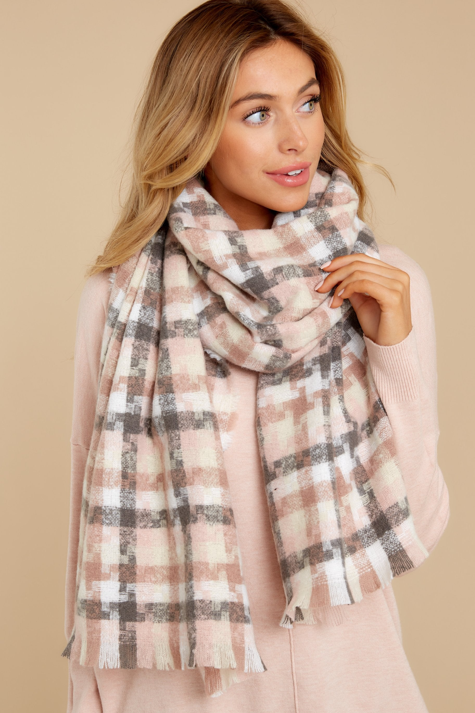 3 In A Flurry Pink Multi Plaid Scarf at reddressboutique.com