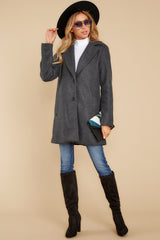 3 Without Hurry Heather Charcoal Coat at reddressboutique.com