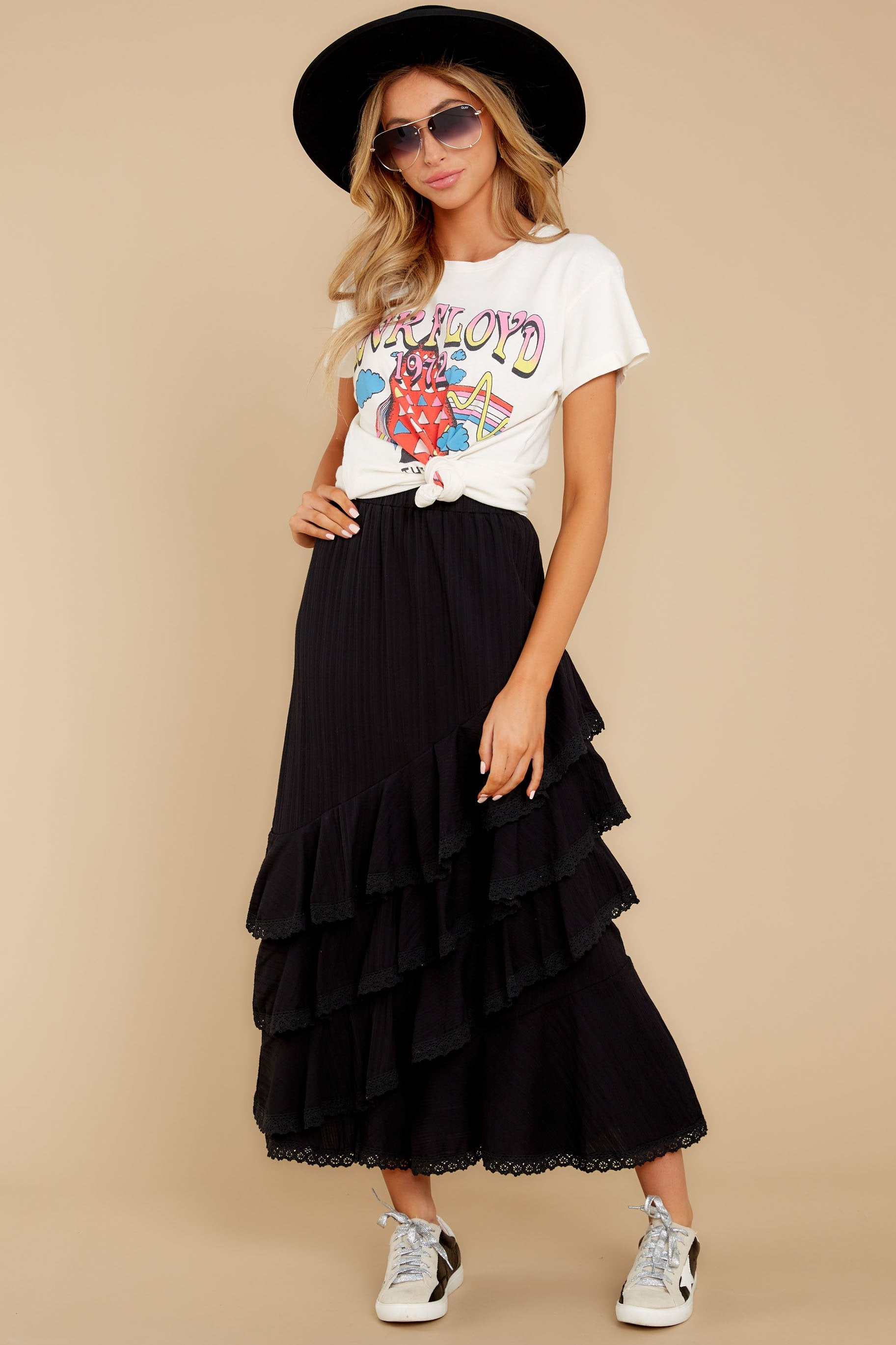 6 Desire To Inspire Black Midi Skirt at reddressboutique.com
