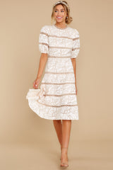2 Love Ridden Ivory Lace Midi Dress at reddressboutique.com