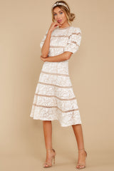 3 Love Ridden Ivory Lace Midi Dress at reddressboutique.com
