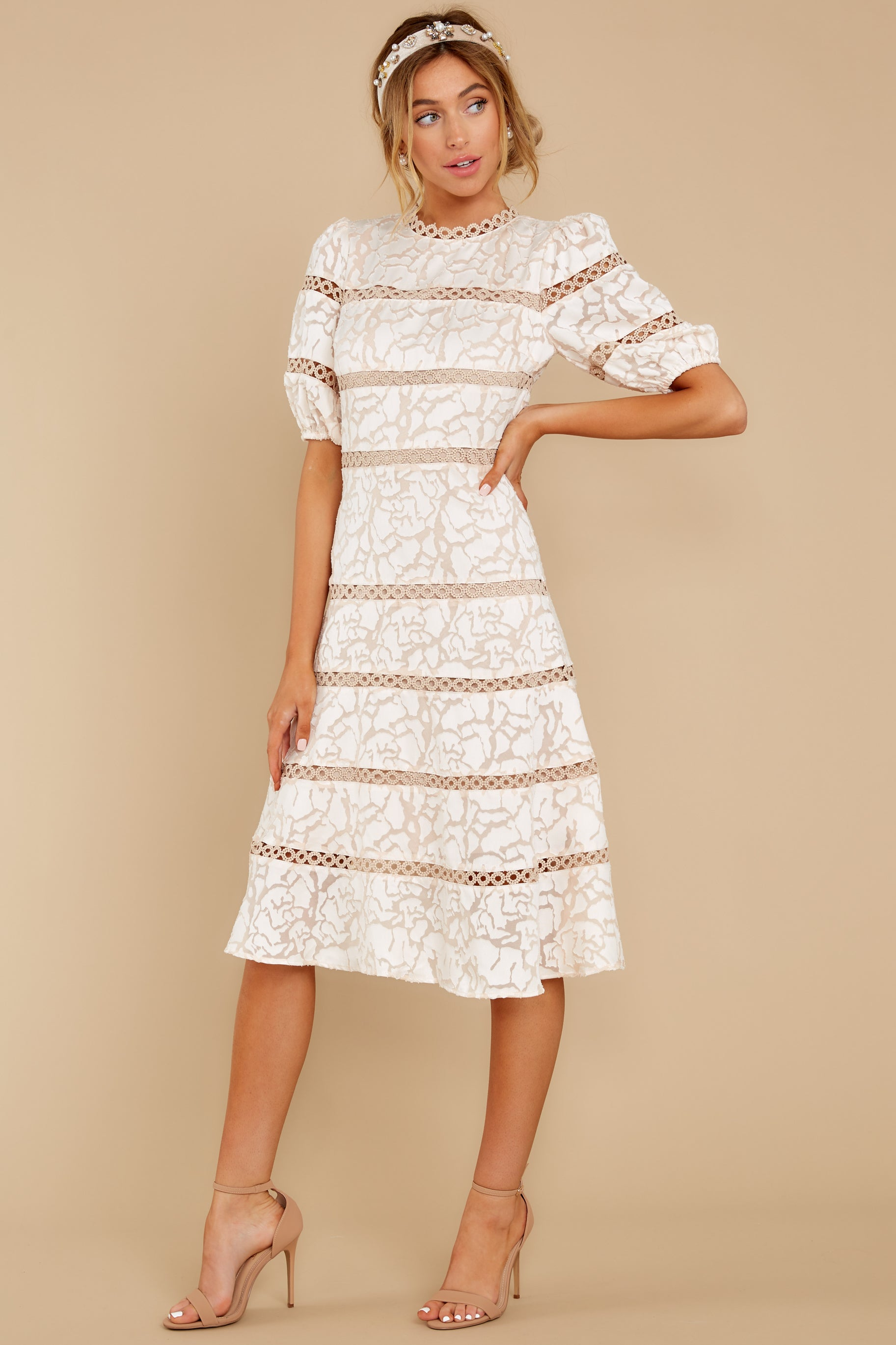 4 Love Ridden Ivory Lace Midi Dress at reddressboutique.com