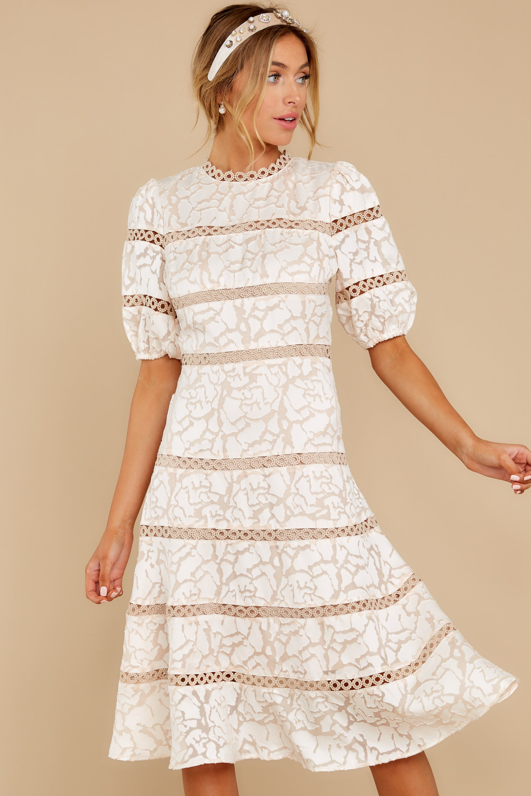 5 Love Ridden Ivory Lace Midi Dress at reddressboutique.com