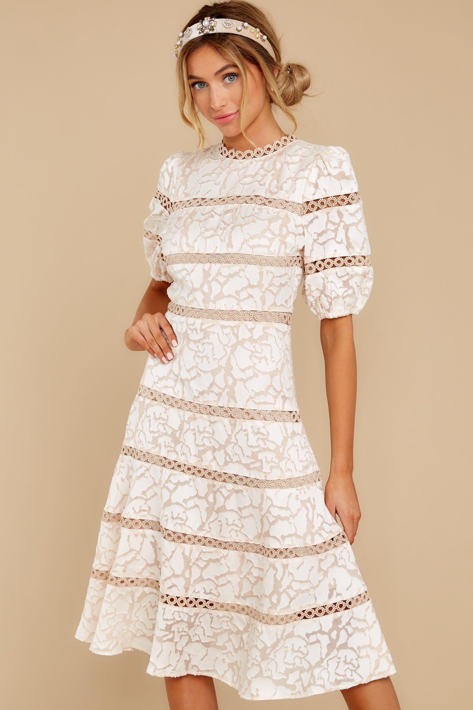 6 Love Ridden Ivory Lace Midi Dress at reddressboutique.com