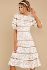 7 Love Ridden Ivory Lace Midi Dress at reddressboutique.com