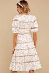 8 Love Ridden Ivory Lace Midi Dress at reddressboutique.com