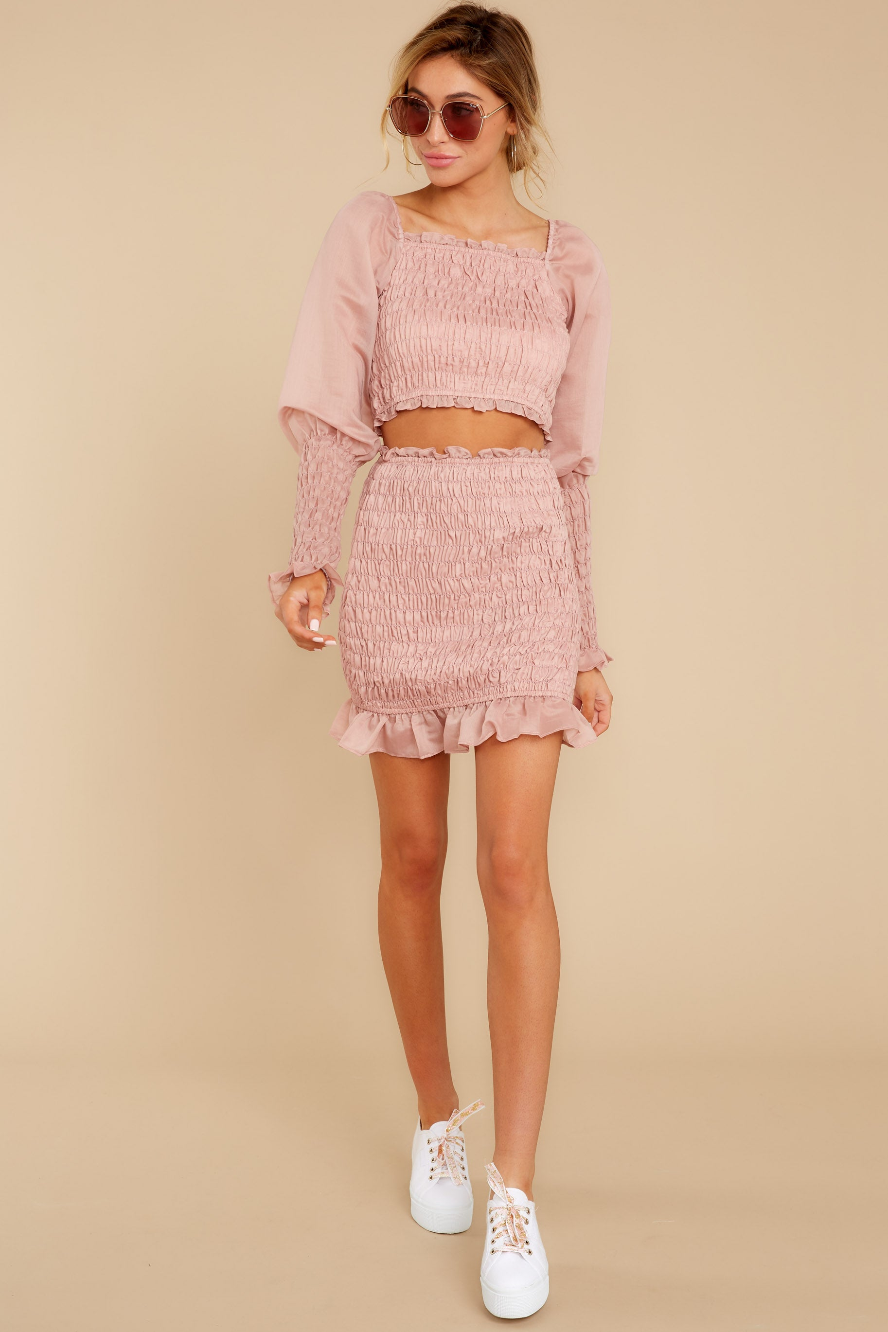 2 Caught You Looking Blush Pink Two Piece Set at reddressboutique.com