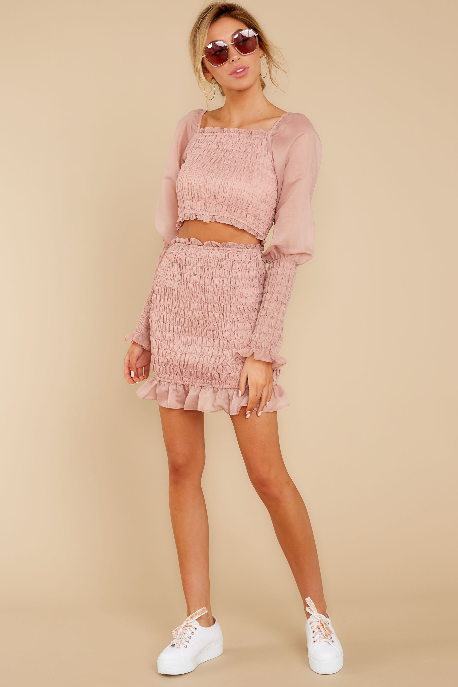3 Caught You Looking Blush Pink Two Piece Set at reddressboutique.com