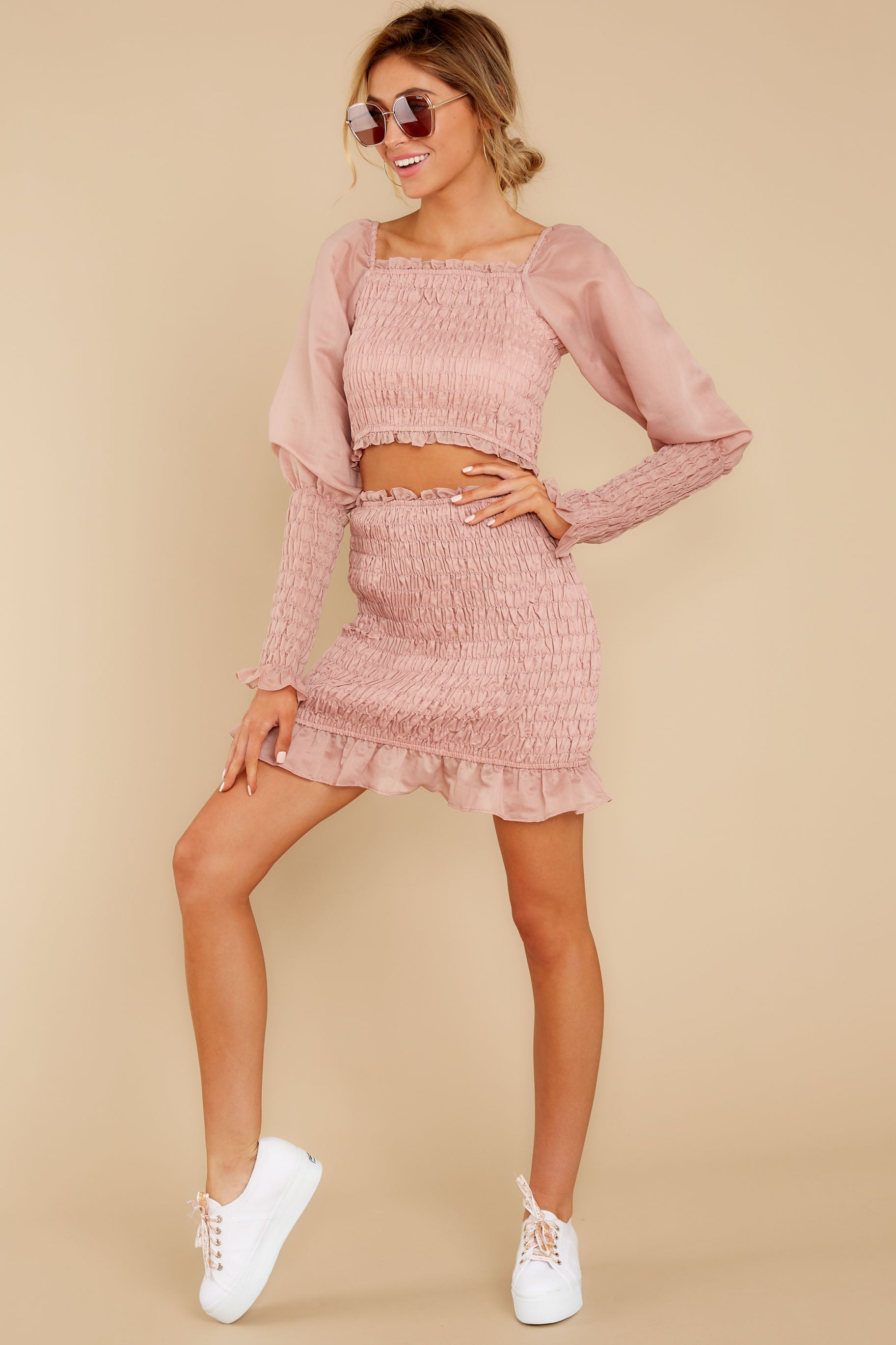 1 Caught You Looking Blush Pink Two Piece Set at reddressboutique.com