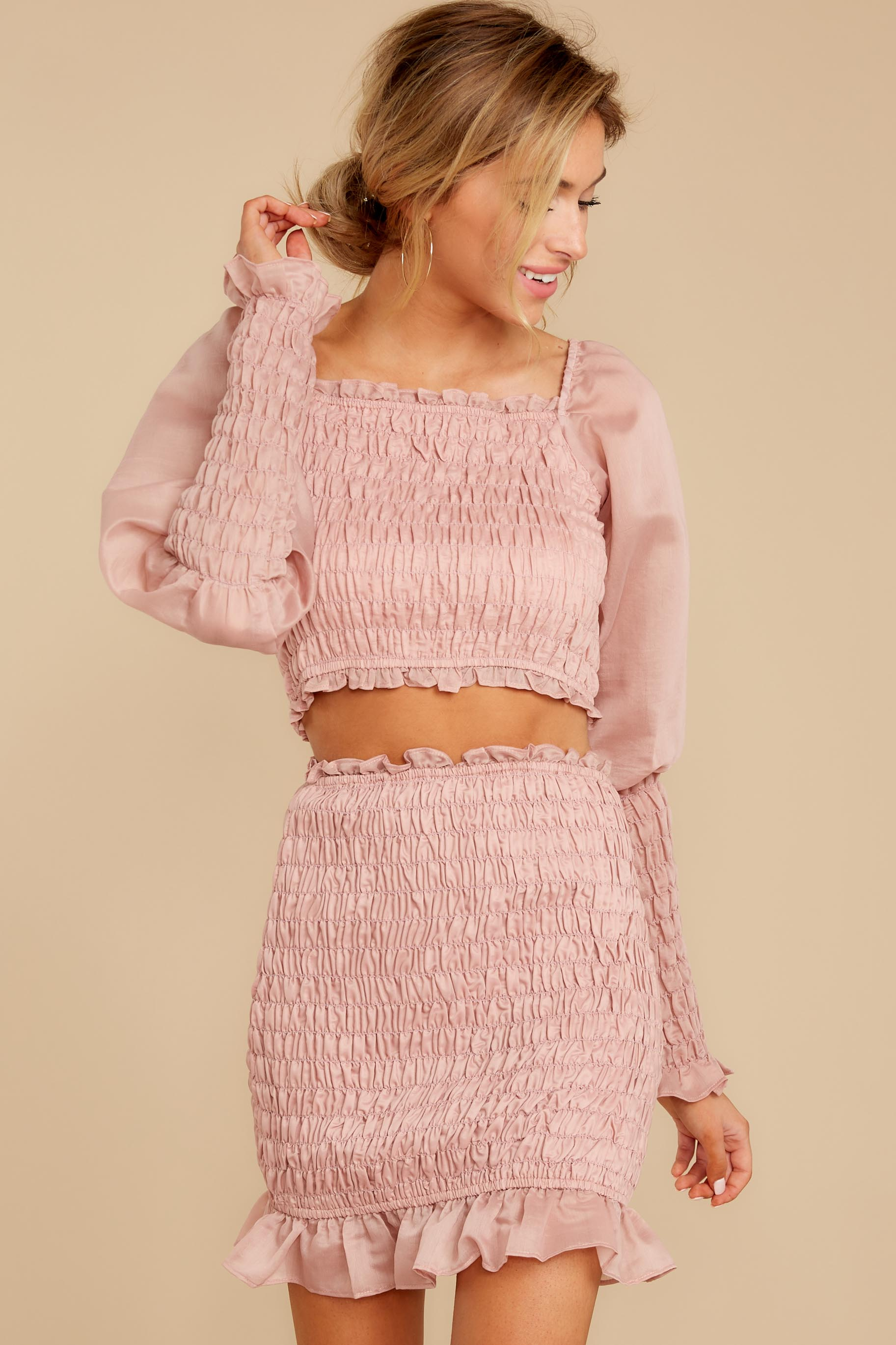 6 Caught You Looking Blush Pink Two Piece Set at reddressboutique.com