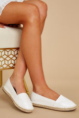 1 Following Fun White Slip On Espadrille Flats at reddressboutique.com