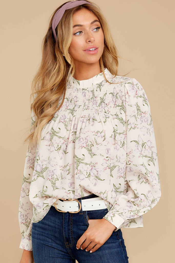 A Little Dramatic White And Yellow Floral Embroidered Top at Red Dress.com