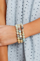 5 The Best Part Light Green Multi Beaded Bracelet Set at reddressboutique.com