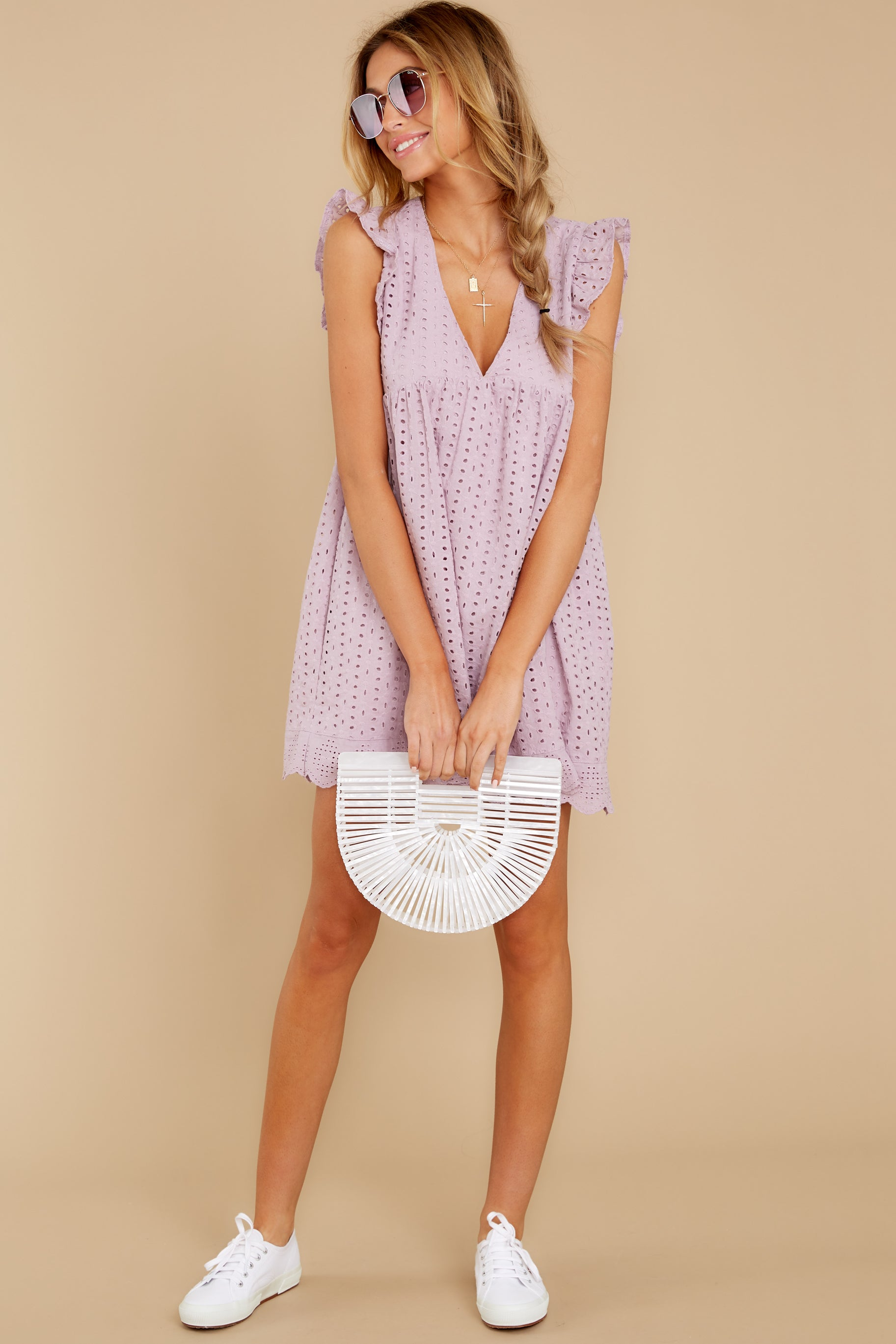 4 Keep A Secret Lavender Romper Dress at reddressboutique.com