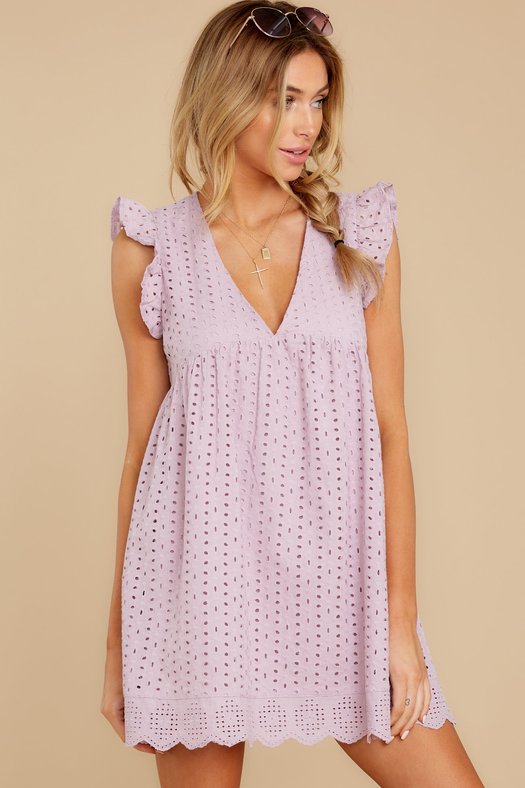 7 Keep A Secret Lavender Romper Dress at reddressboutique.com
