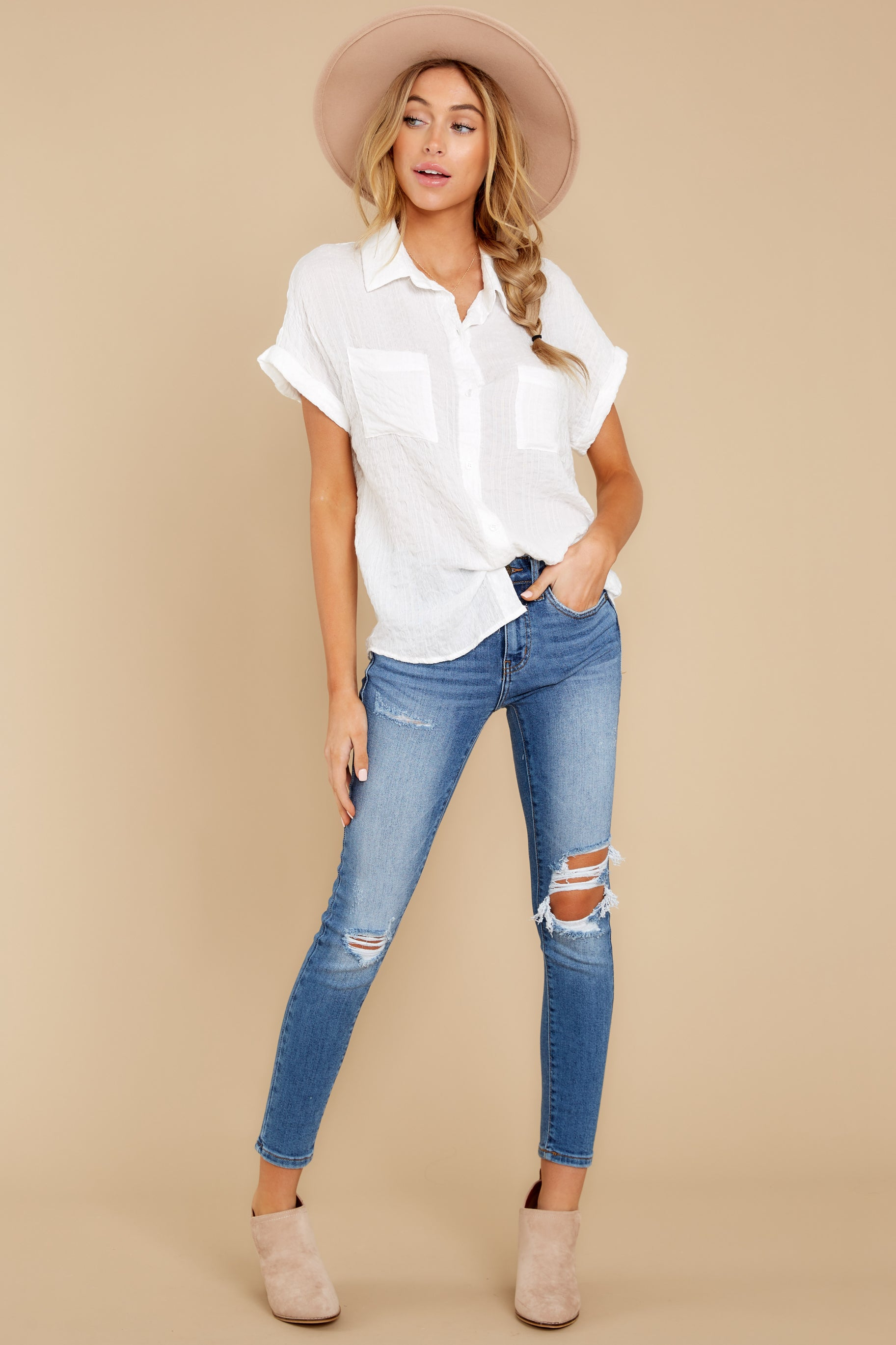 1 Have Dinner Waiting White Button Up Top at reddressboutique.com