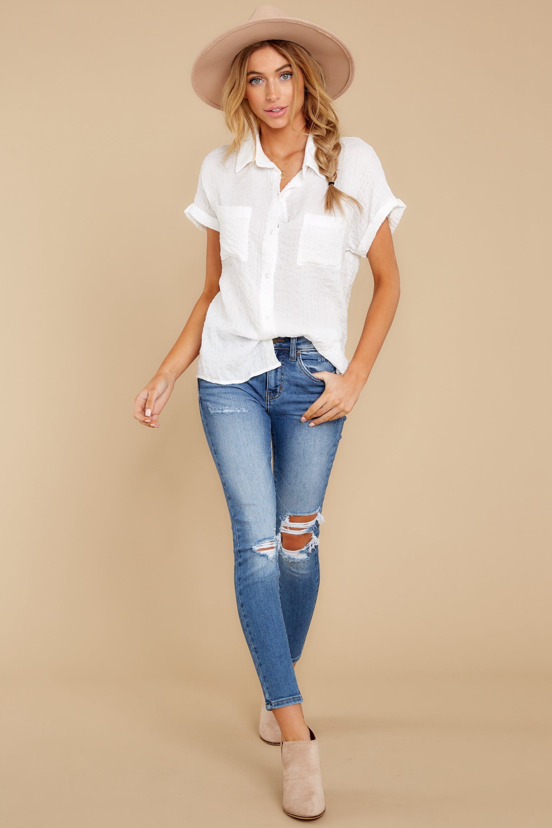 2 Have Dinner Waiting White Button Up Top at reddressboutique.com