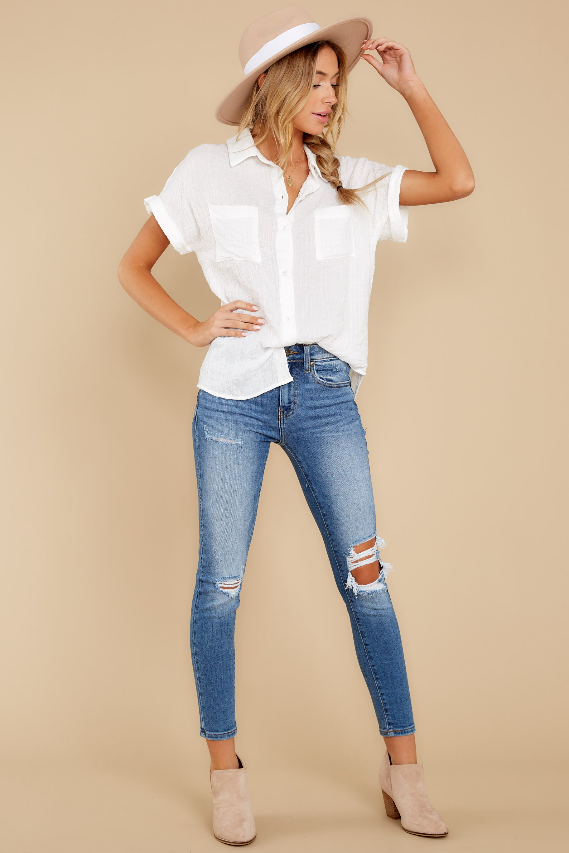 3 Have Dinner Waiting White Button Up Top at reddressboutique.com