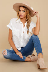 4 Have Dinner Waiting White Button Up Top at reddressboutique.com