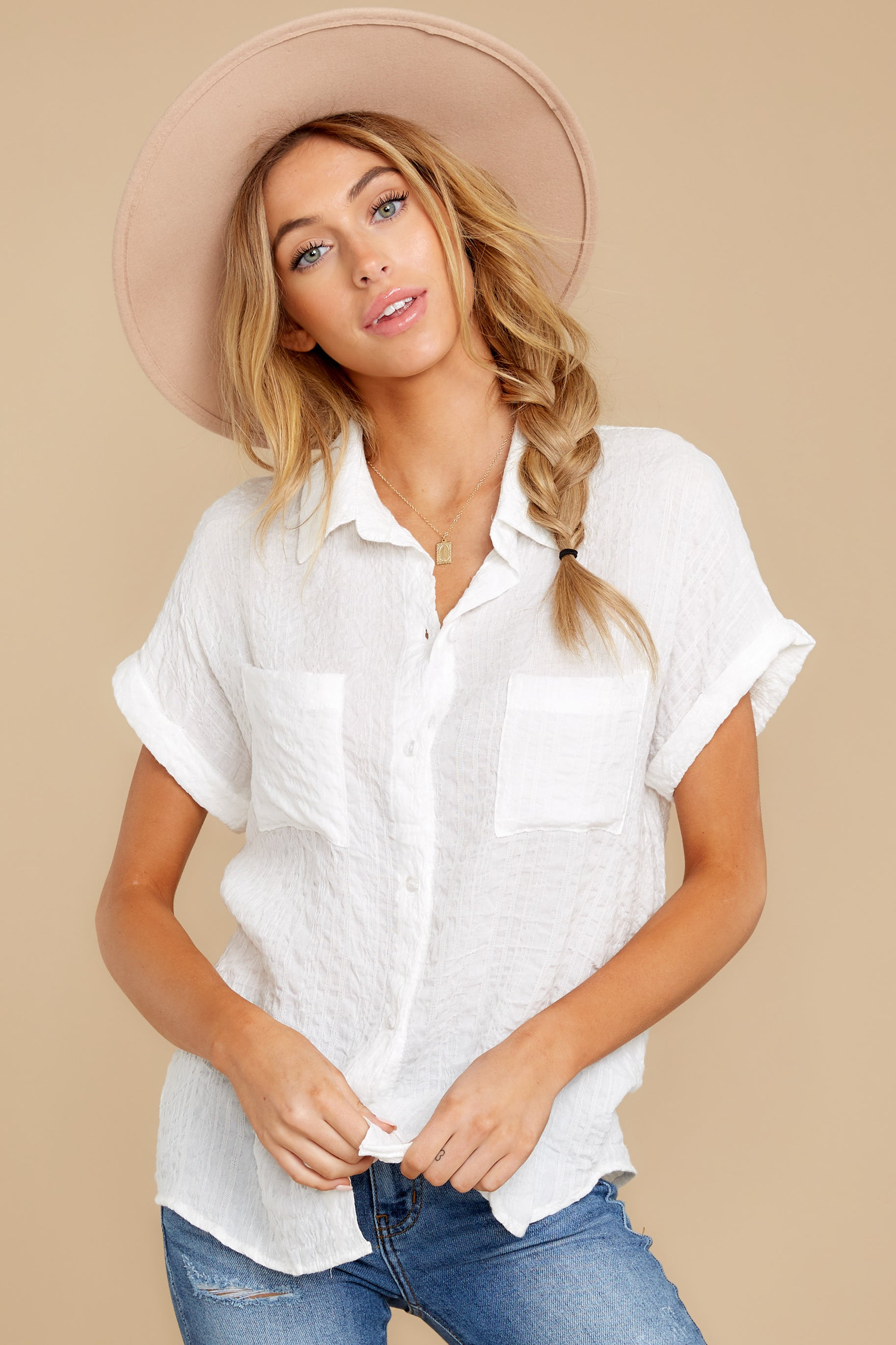Have Dinner Waiting White Button Up Top