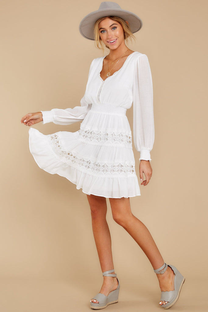 4 Clear Thoughts White Lace Dress at reddressboutique.com