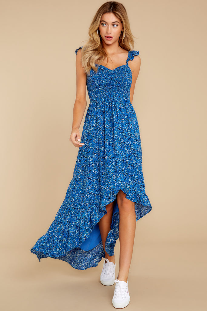 1 Freely Me Navy Blue Lace Dress at reddress.com