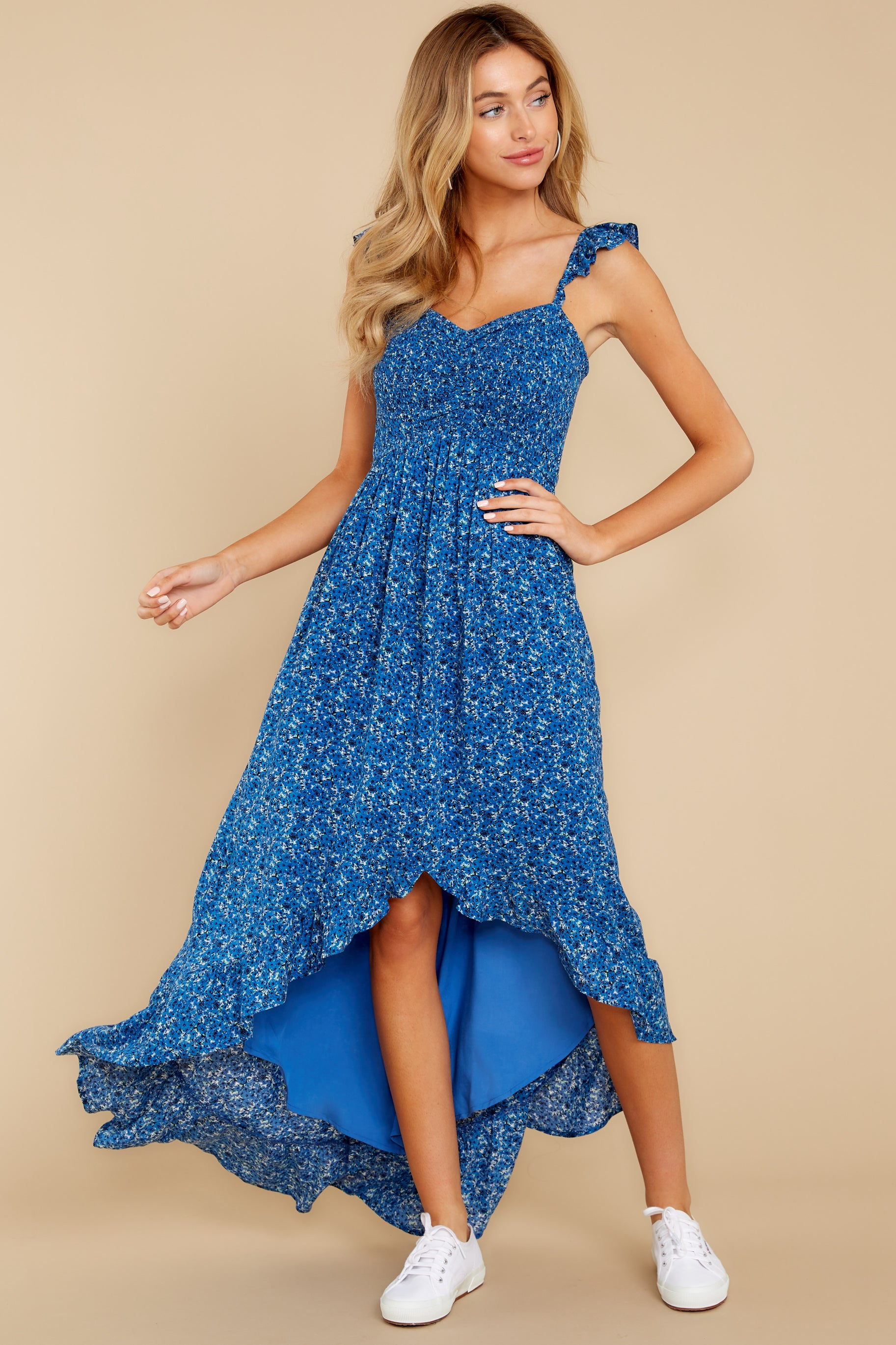 2 Open Waters Blue Print High Low Dress at reddressboutique.com