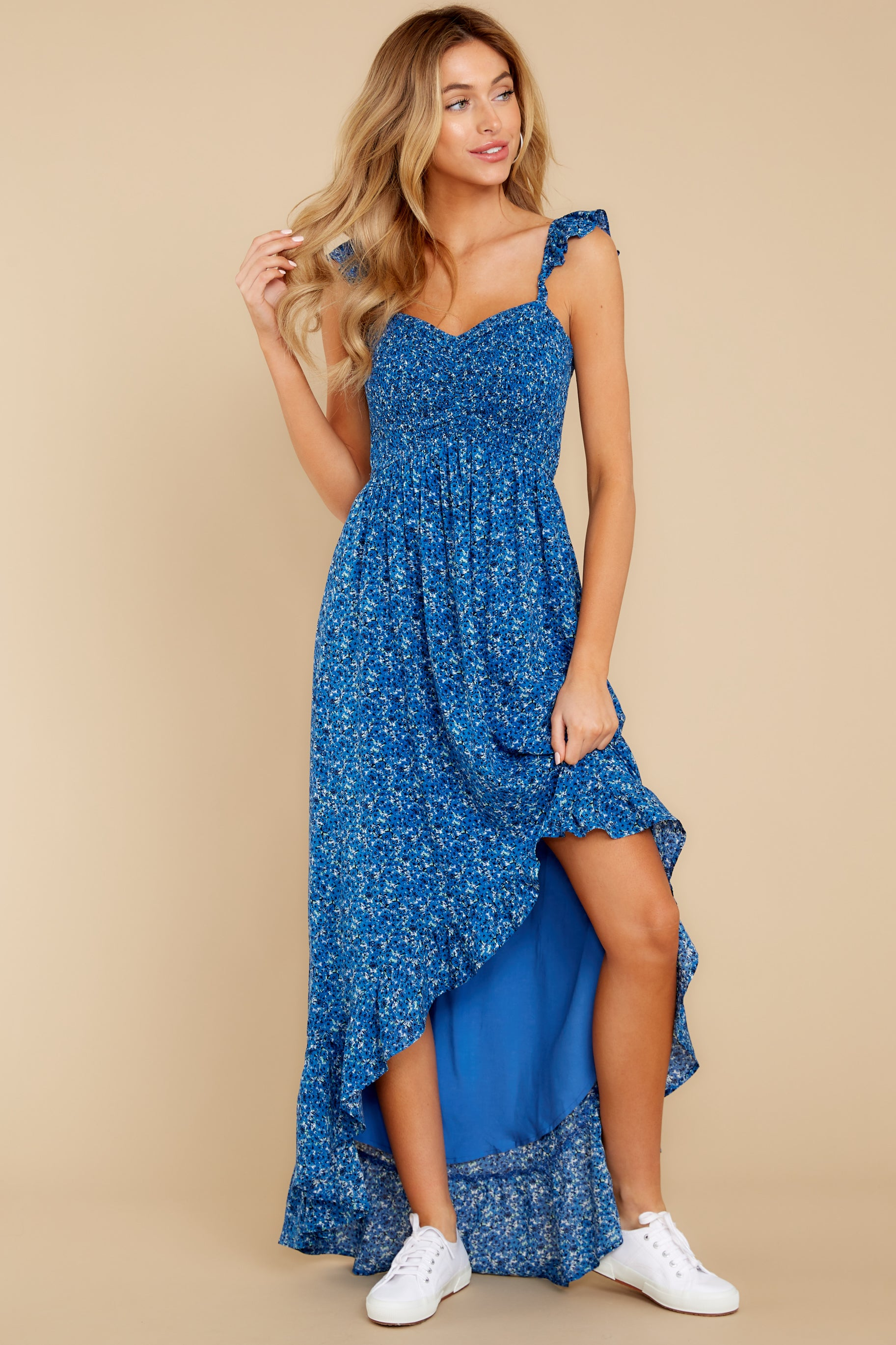 3 Open Waters Blue Print High Low Dress at reddressboutique.com