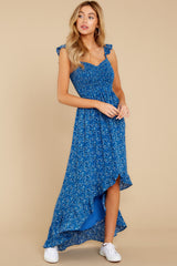 4 Open Waters Blue Print High Low Dress at reddressboutique.com