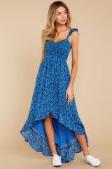 5 Open Waters Blue Print High Low Dress at reddressboutique.com