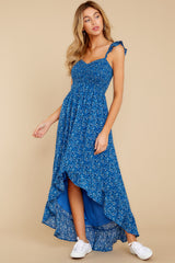 6 Open Waters Blue Print High Low Dress at reddressboutique.com