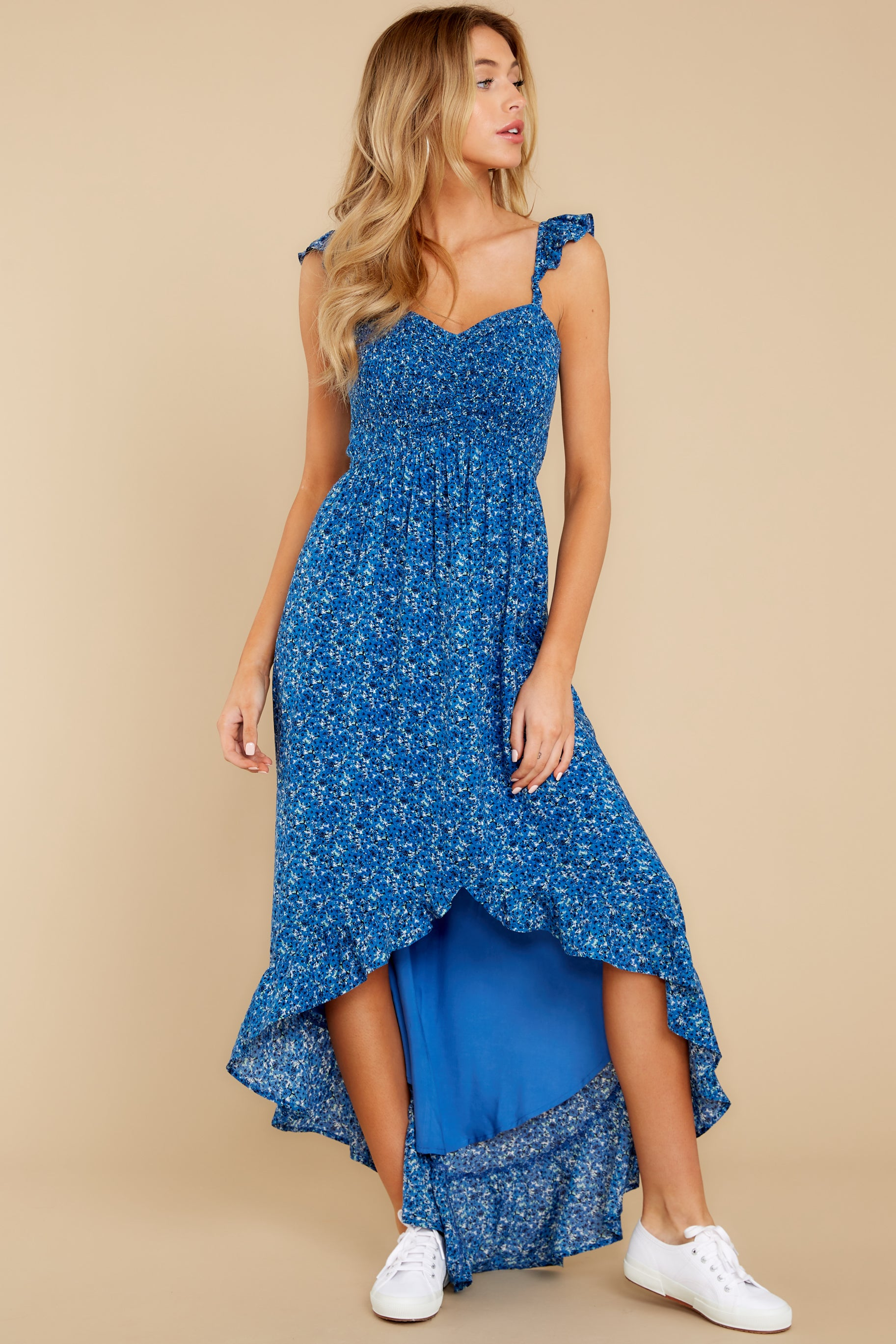 7 Open Waters Blue Print High Low Dress at reddressboutique.com