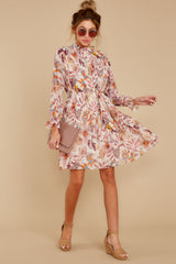 1 Straight For Your Heart Ivory Floral Print Dress at reddressboutique.com