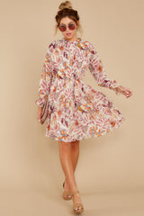 2 Straight For Your Heart Ivory Floral Print Dress at reddressboutique.com