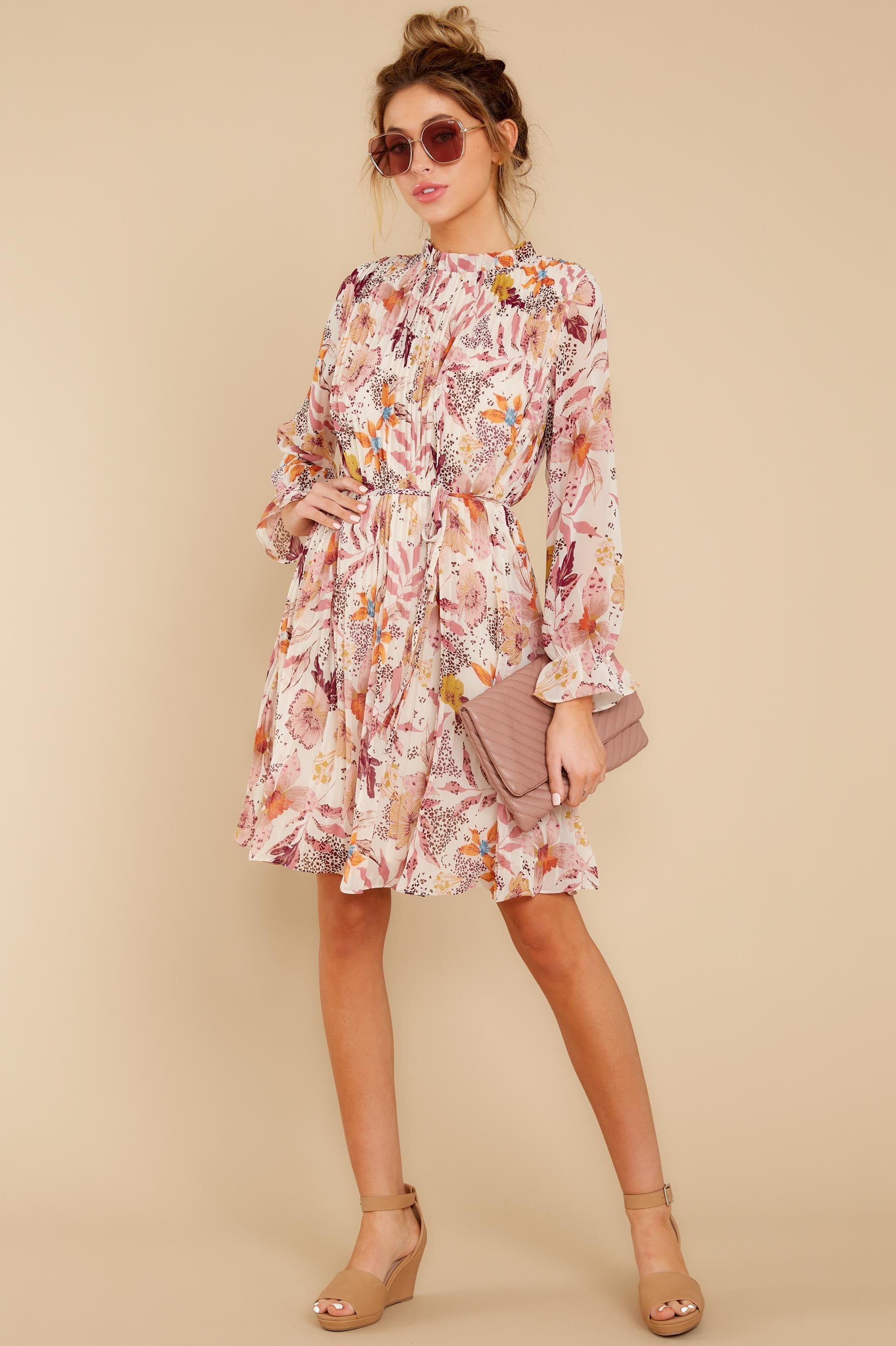 3 Straight For Your Heart Ivory Floral Print Dress at reddressboutique.com