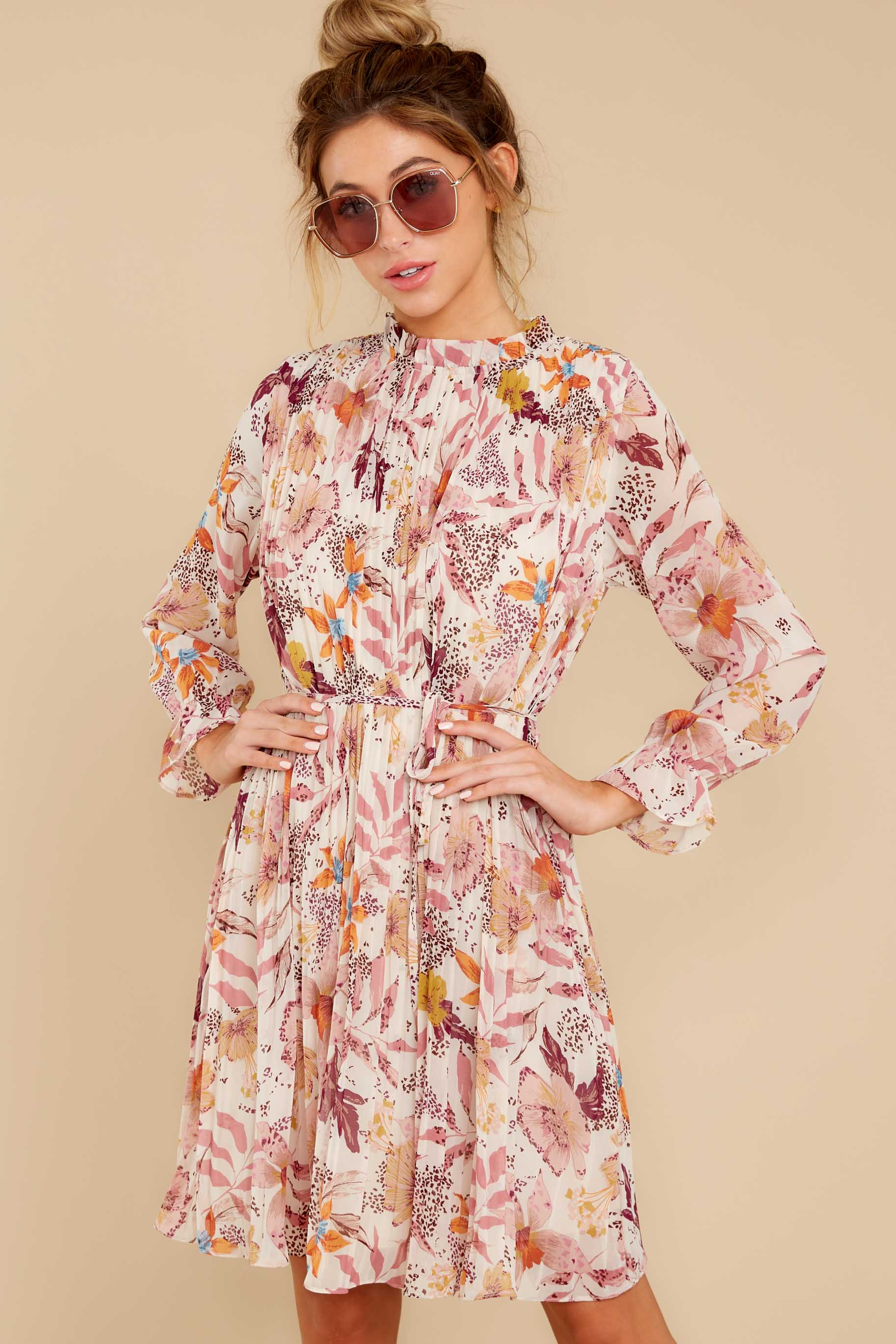 4 Straight For Your Heart Ivory Floral Print Dress at reddressboutique.com