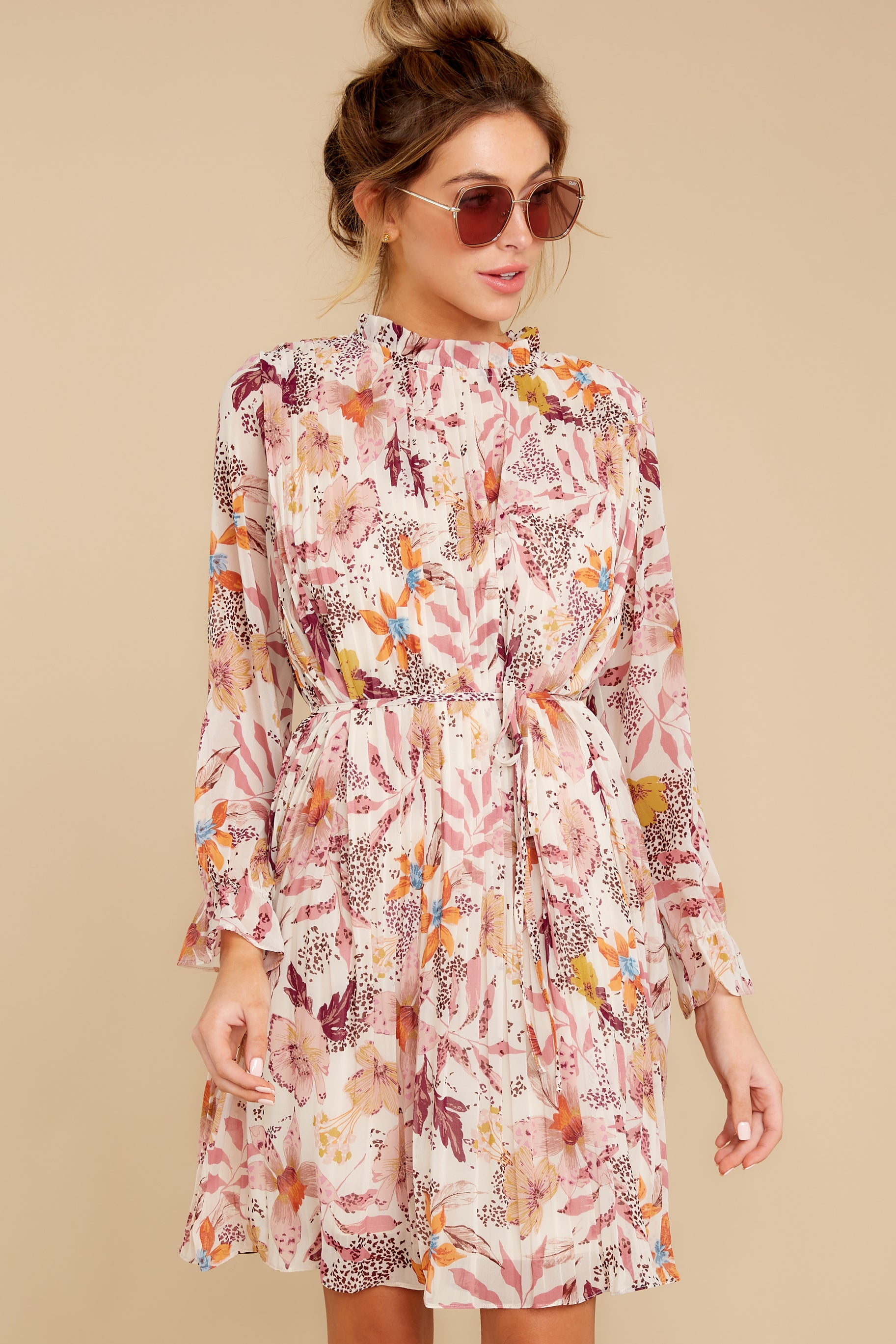 5 Straight For Your Heart Ivory Floral Print Dress at reddressboutique.com
