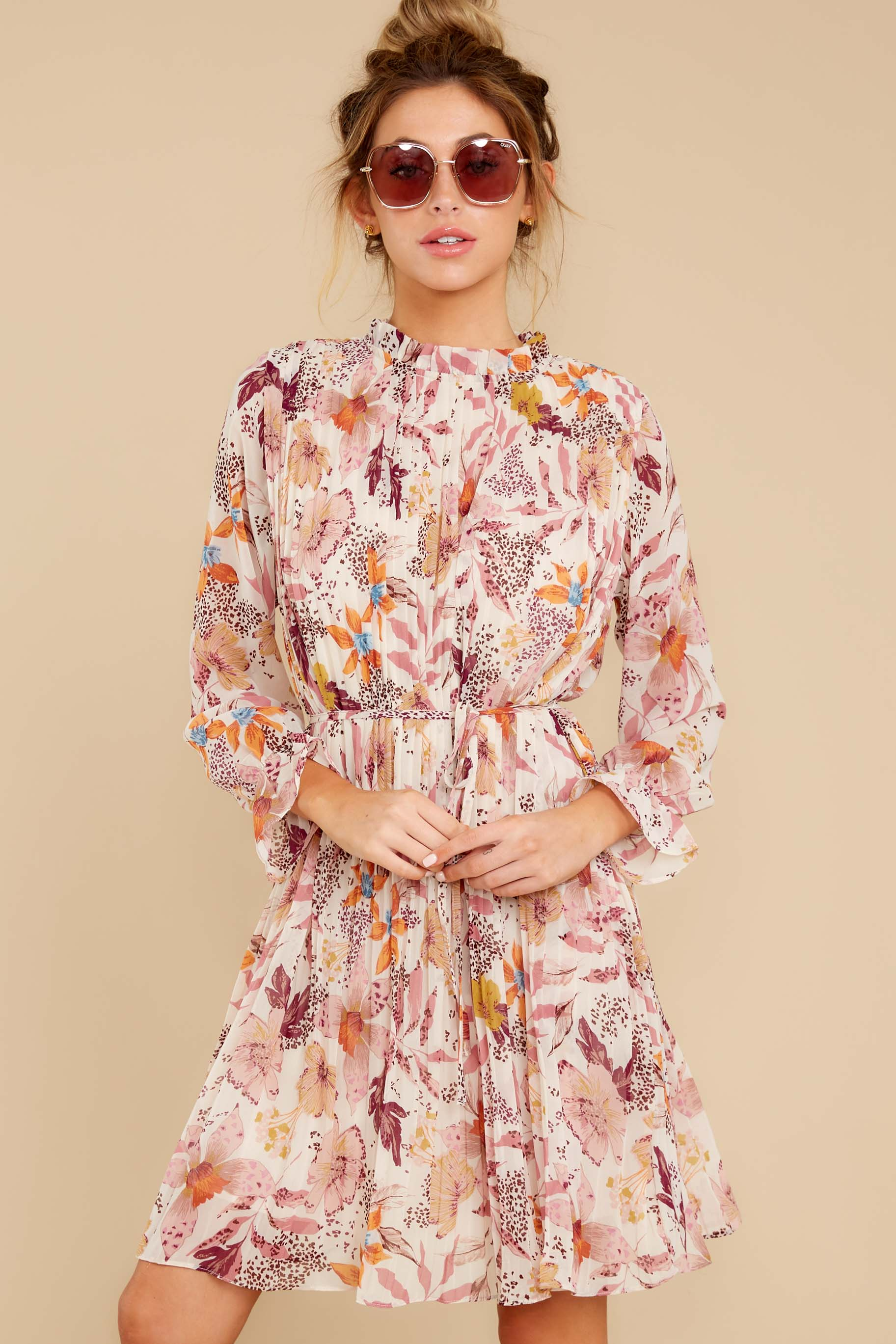 6 Straight For Your Heart Ivory Floral Print Dress at reddressboutique.com