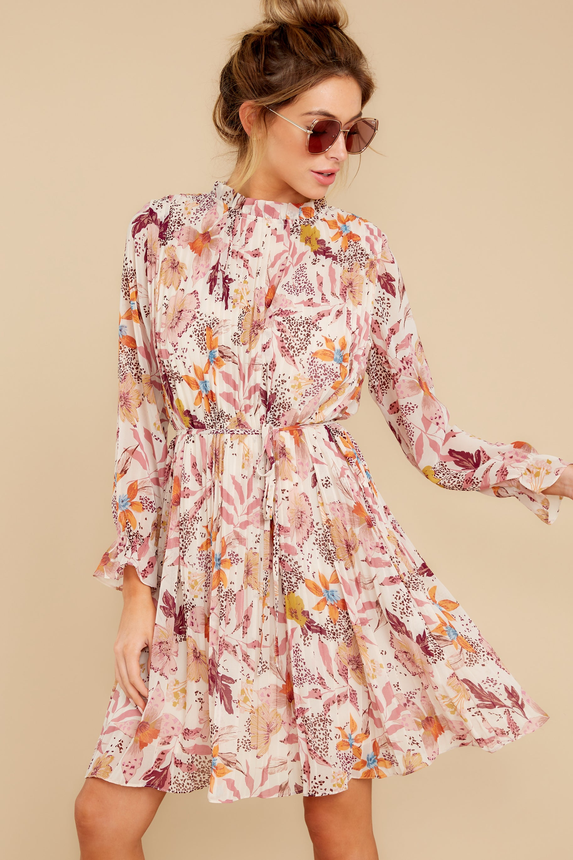 7 Straight For Your Heart Ivory Floral Print Dress at reddressboutique.com