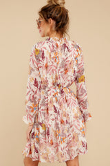 9 Straight For Your Heart Ivory Floral Print Dress at reddressboutique.com