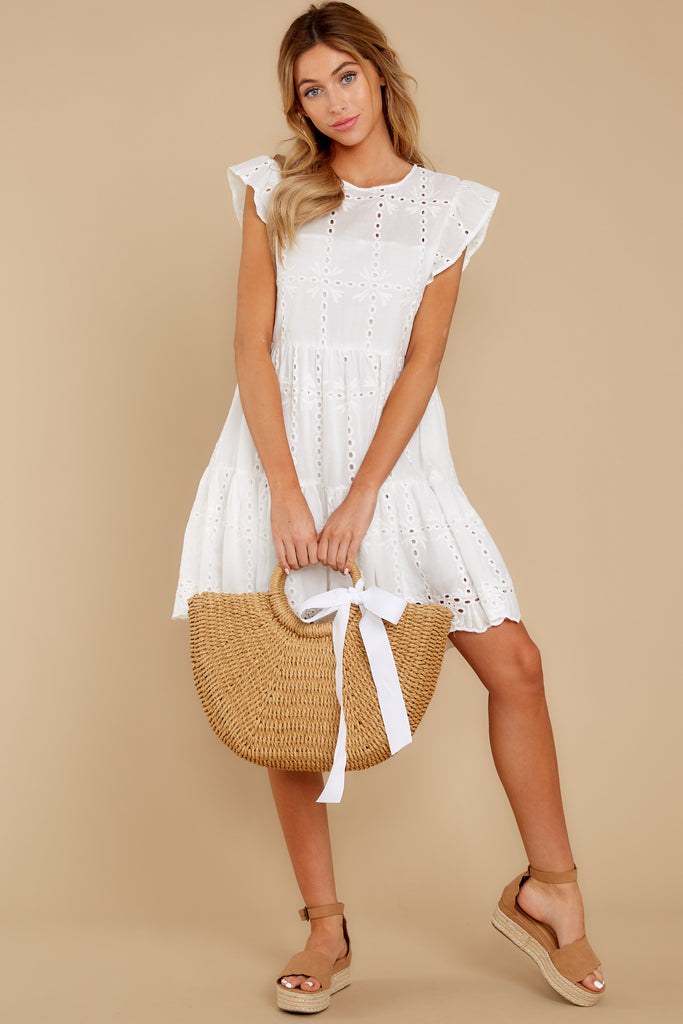 4 Holding Peace White Eyelet Dress at reddressboutique.com