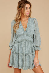 6 Make It A Date Night Sage Green Print Dress at reddressboutique.com