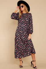 3 Who Is She Black Floral Print Dress at reddressboutique.com